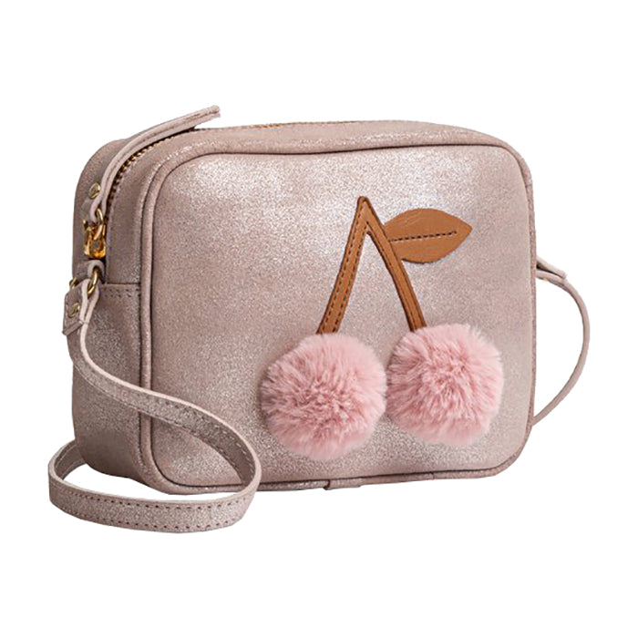 Bonpoint Child Pompom Cherry Purse Silver