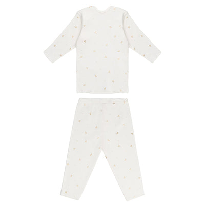 Bonpoint Baby Pyjama Set White With Gold Cherry Print