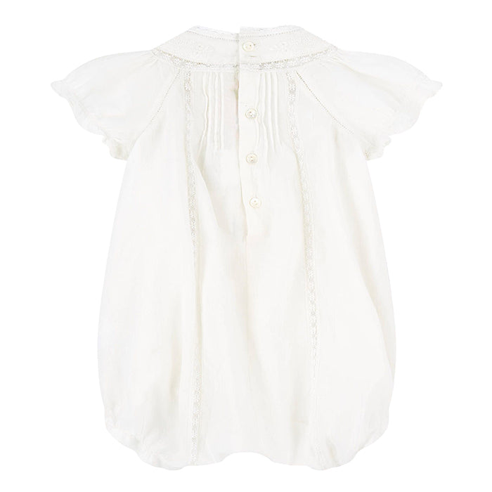 Bonpoint Baby Lotti Lace Romper White