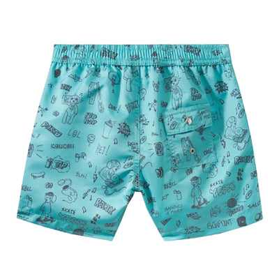 Swim shorts in a turquoise blue with an all over youthful graffiti style print from the back.