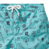Close up of the side seam pocket, elasticized waist and turquoise blue fabric with an all over youthful graffiti style print.