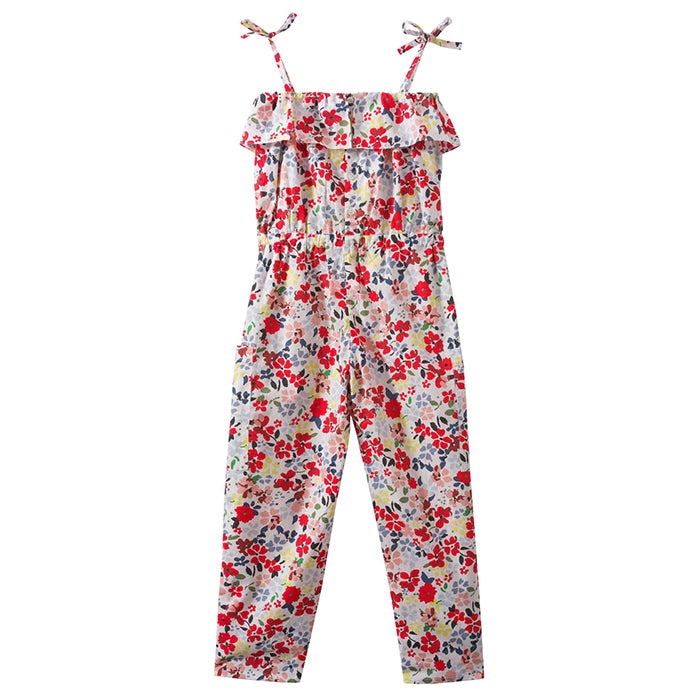 Jumpsuit with a ruffle around the chest and thin straps that tie at the shoulder in a red floral print.