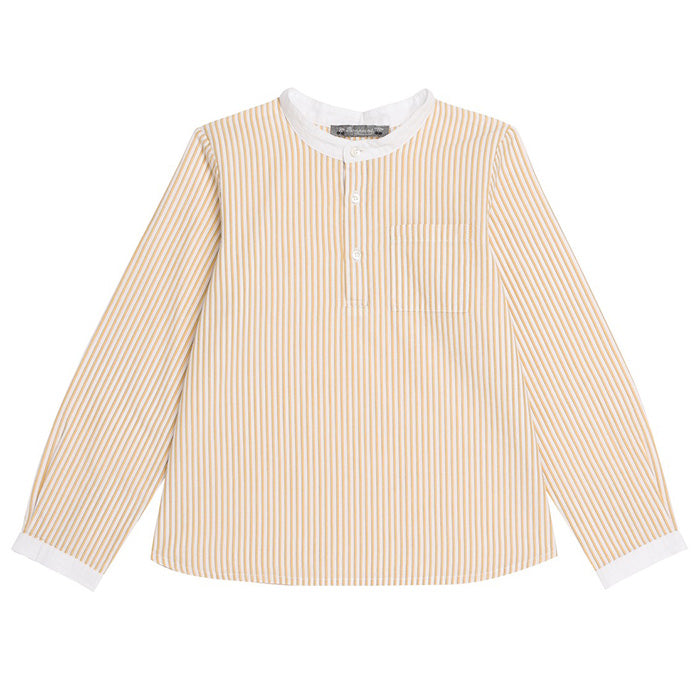 Bonpoint Child Artiste Long Sleeved Shirt Buttercup Yellow Stripes