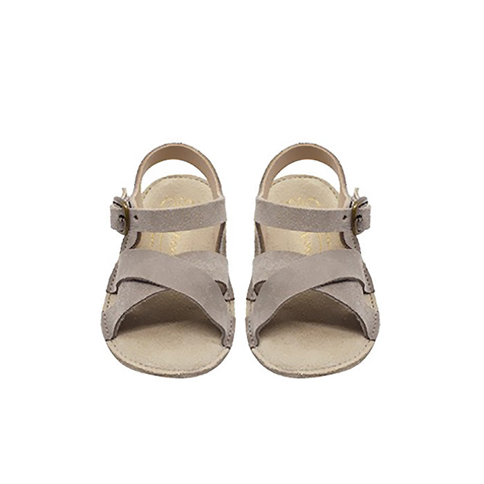 Bonpoint Baby Leo Leather Sandals Mid Grey