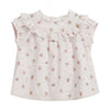 Bonpoint Baby Line Short Sleeved Blouse Pale Pink With Floral Print