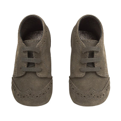 Bonpoint Baby Small Leather Shoes Khaki Grey