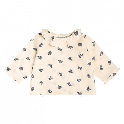 Bonpoint Baby Ganiti Blouse Cream With Blue Fruit Print
