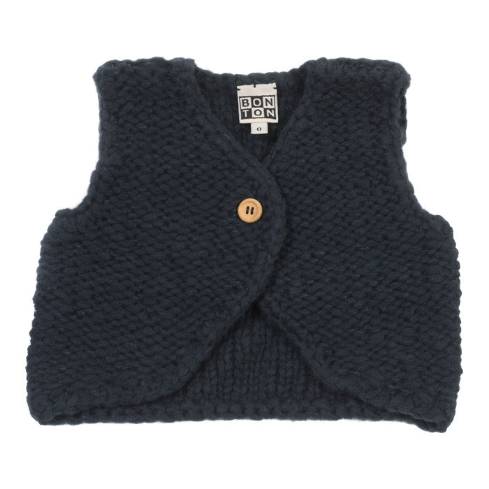 Bonton Baby And Child Knitted Vest Navy Blue