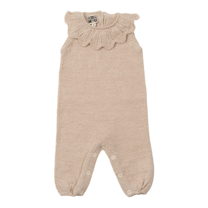 Bonton Baby Knitted Jumpsuit With Collar Beige Brown