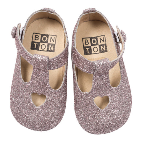 Bonton Baby Shoes With Heart Silver Glitter
