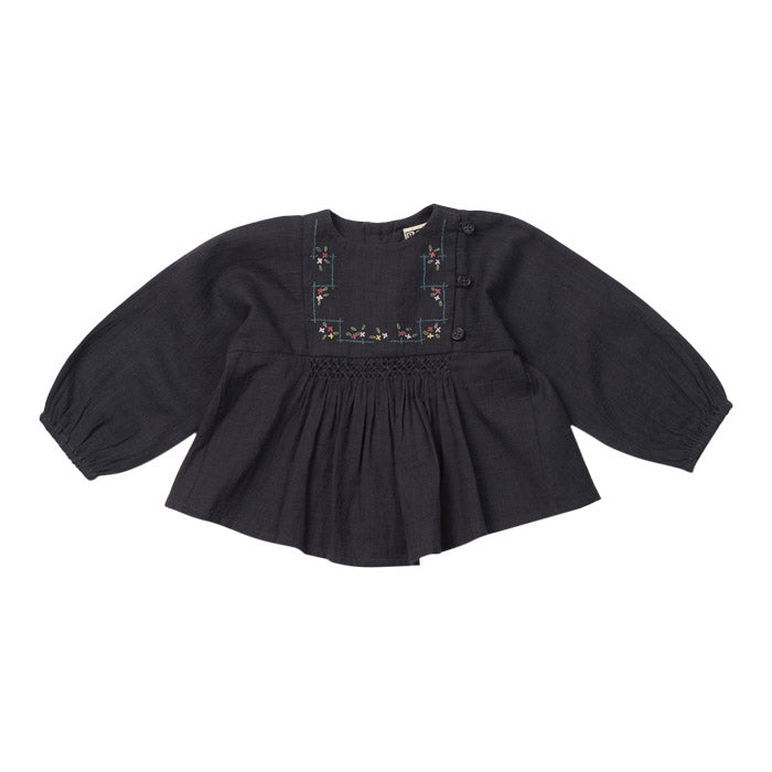 Bonton Baby Long Sleeved Shirt With Embroidery Charcoal Grey
