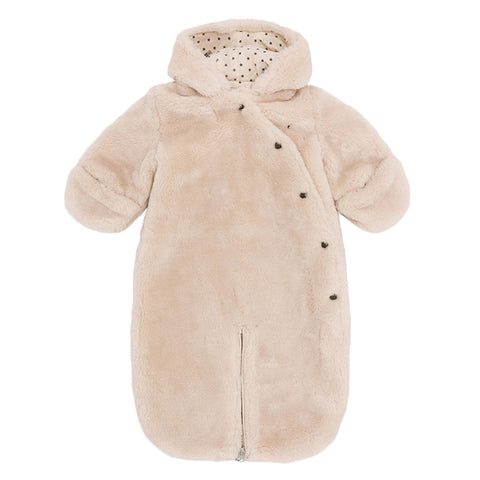 Bonton Baby Pilote Faux Fur Snowsuit Off-White