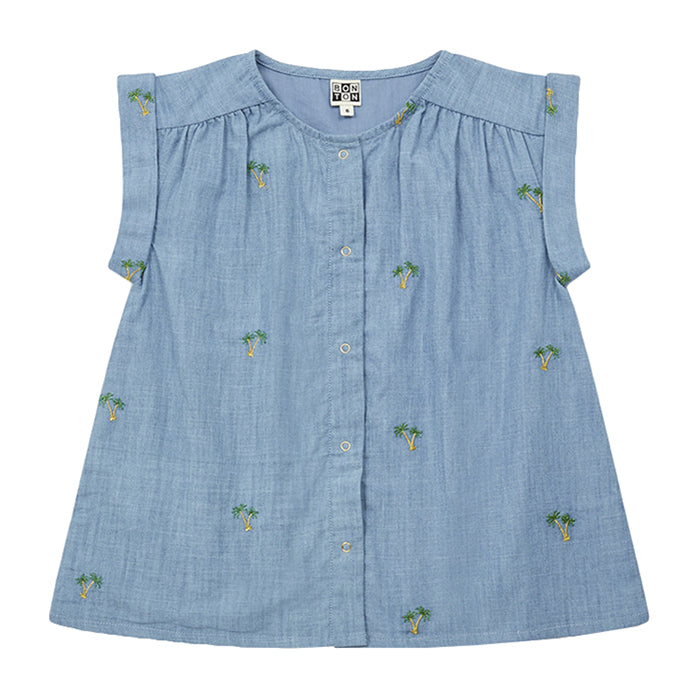 Bonton Child Andrea Blouse Blue With Palm Tree Embroidery