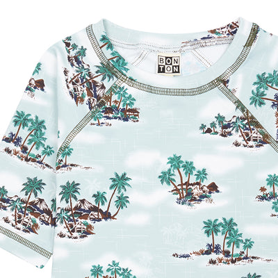 Bonton Child Boat Swim Top Vintage Blue Print