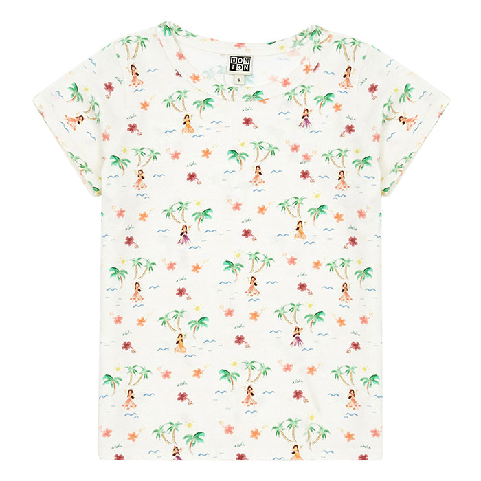 Bonton Child Tahiti T-shirt White With Island Print