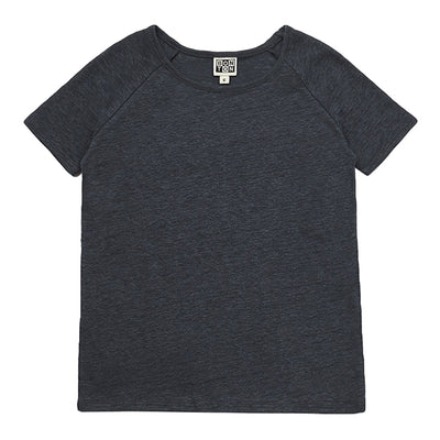 Short sleeved linen jersey t-shirt in dark grey.