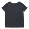 Short sleeved linen jersey t-shirt in dark grey from the back.