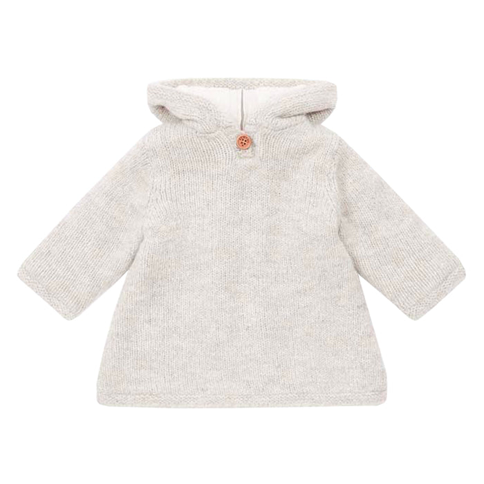 Bonton Baby Mamouth Burnous Sweater With Fur Lining Beige Brown