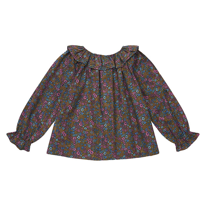 Bonton Child Billou Blouse Brown Vintage Floral Print