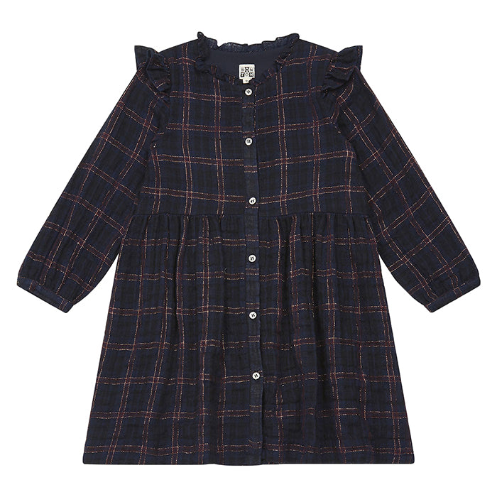 Bonton Child Slow Dress Navy Blue Plaid