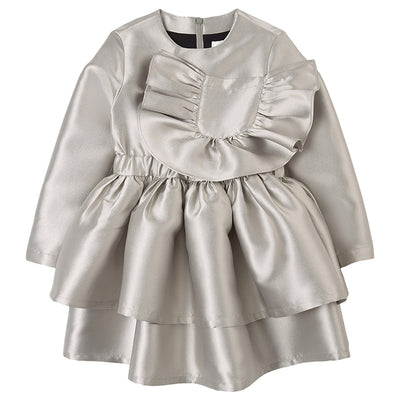 Long sleeved silver dress with a tiered skirt and a ruffled patch pocket on the chest.
