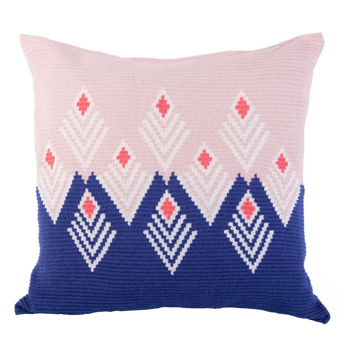 D.A.R. Projects Handmade Floor Cushion Cover Coral Pink With Ultramarine Blue