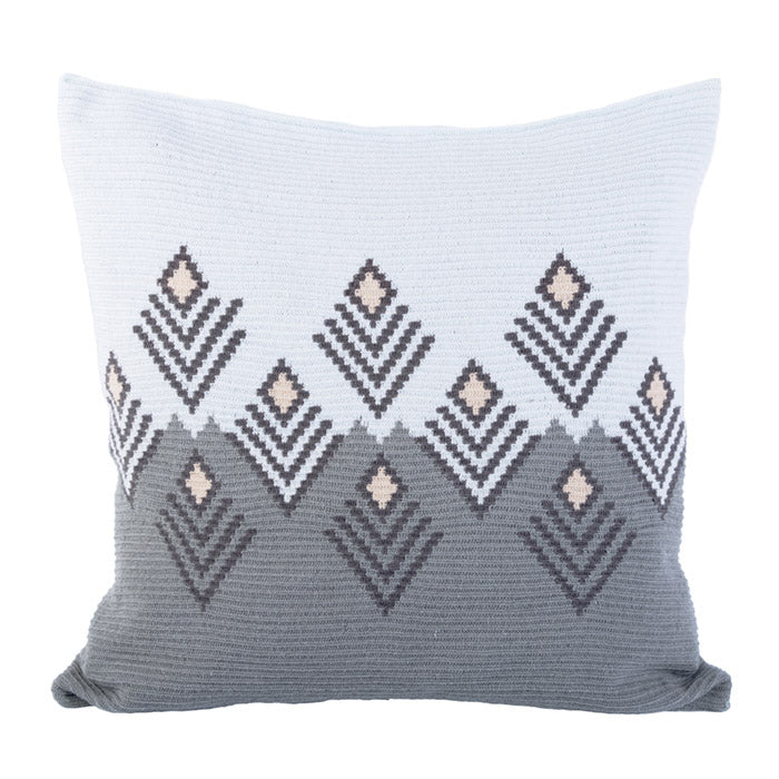 D.A.R. Projects Handmade Floor Cushion Cover Grey With Sky Blue And Beige Cream