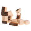 Grimm's Set Of 15 Wooden Blocks With Bark In Net Bag