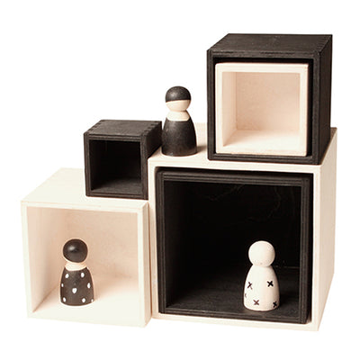 Grimm's Set Of Six Wooden Stacking Boxes Large Monochrome