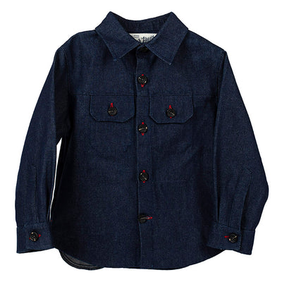 Hopper Hunter By 18 Waits Baby And Child Weekender Jacket Raw Denim Indigo Blue
