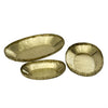 Set Of Three Brass Crinkle Trays Gold