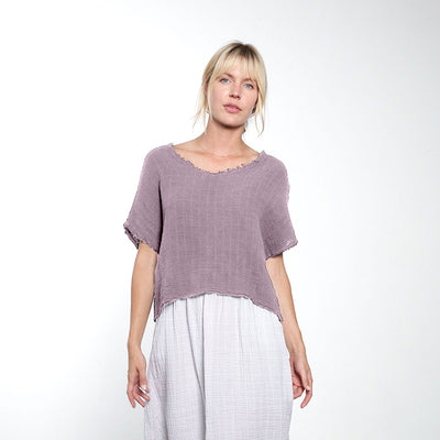 It Is Well LA Woman Raw Edge Reversible Top