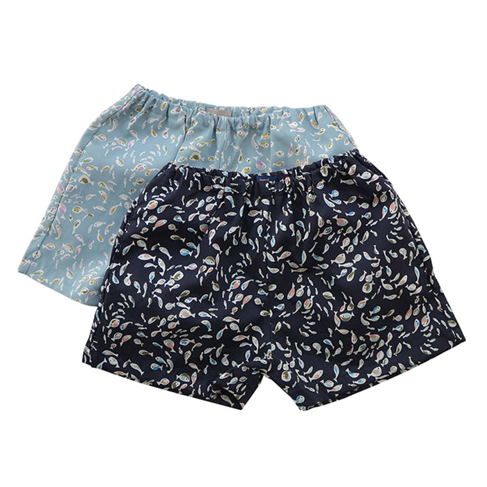 Two pull on shorts in an all over illustrated fish print.