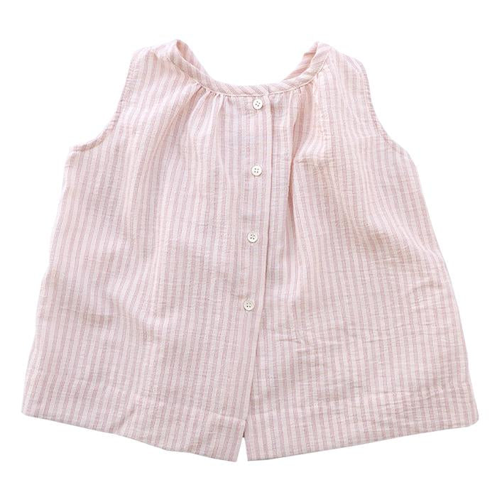 Makie Baby And Child Skylar Sleeveless Blouse Red Pinstripes