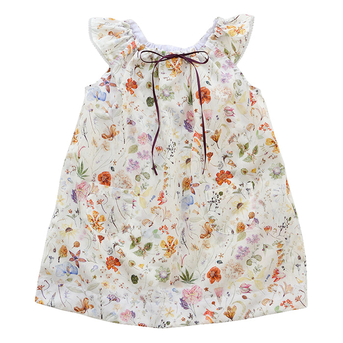 Sleeveless dress with a bow at the neck in cream with an all over multicoloured botanical floral print.