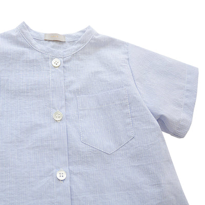 Makie Baby And Child Brett Shirt Blue Pinstripes