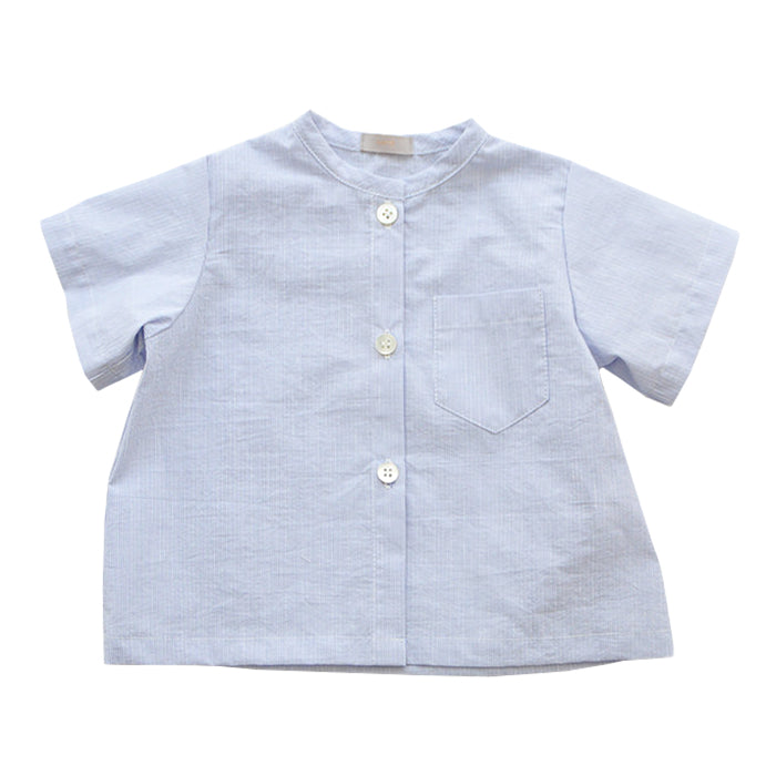 Short sleeved button up shirt in tiny blue and white stripes.