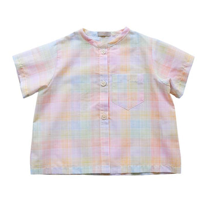 Short sleeved button up shirt in tiny rainbow coloured check pattern.