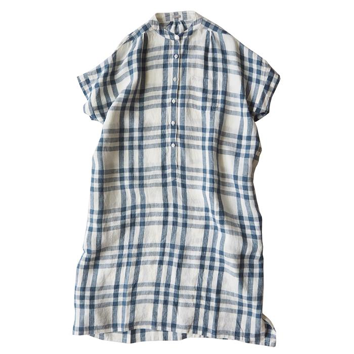 Makie Woman Claudia Shirt Dress Off-White And Blue Plaid