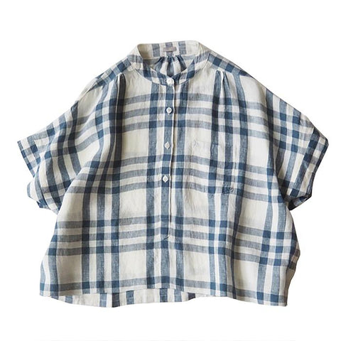 Makie Woman Claudia Shirt Off-White And Blue Plaid