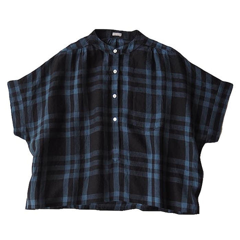 Makie Woman Claudia Shirt Dark Navy Blue Plaid