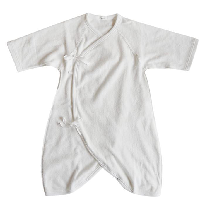 Cotton terrycloth kimono style wrap romper with long sleeves in two colours..