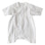 White cotton gauze kimono style wrap romper with long sleeves.