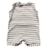 Sleeveless ribbed knit romper in grey and cream stripes.