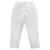 White pull on pants with tapered legs.