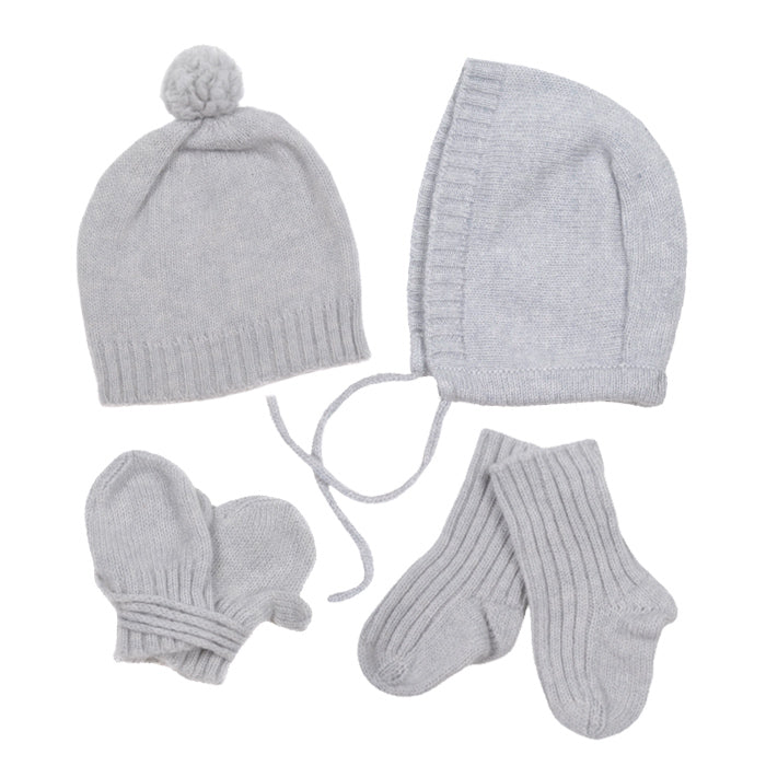 9cd70c80 Makie Baby Four Piece Set Cashere Hat Bonnet Socks And Mittens Ice Grey