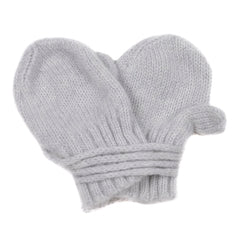 Makie Baby Four Piece Set Cashere Hat Bonnet Socks And Mittens Ice Grey