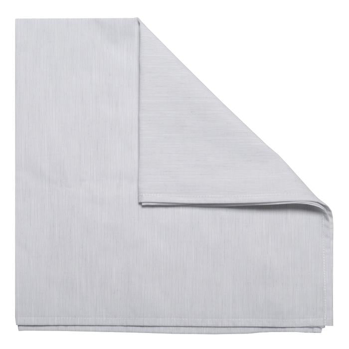 Large folded square scarf in white with thin grey stripes.