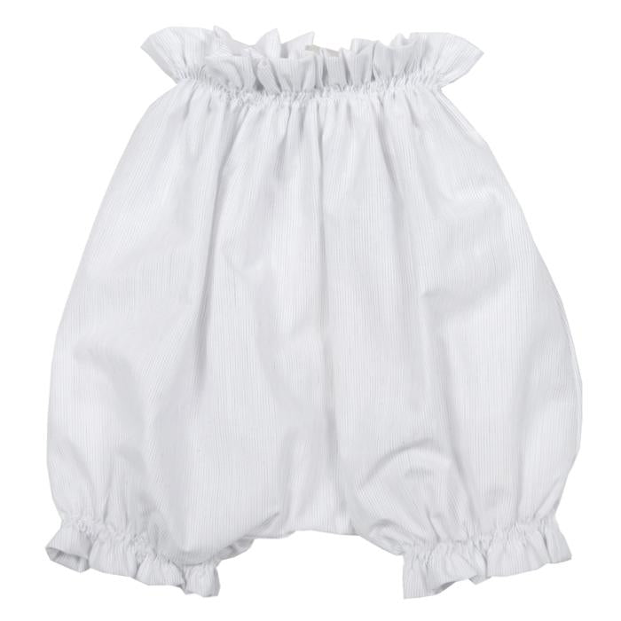 Bloomers in white with a light grey pinstripe print.