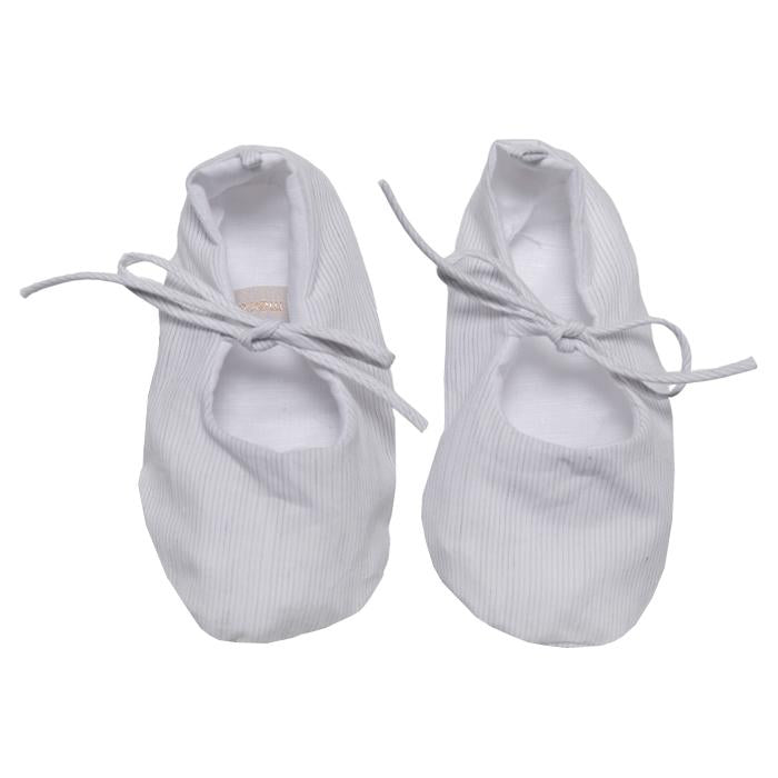 Cotton baby slippers with ties on the top of the foot in white with light grey stripes.